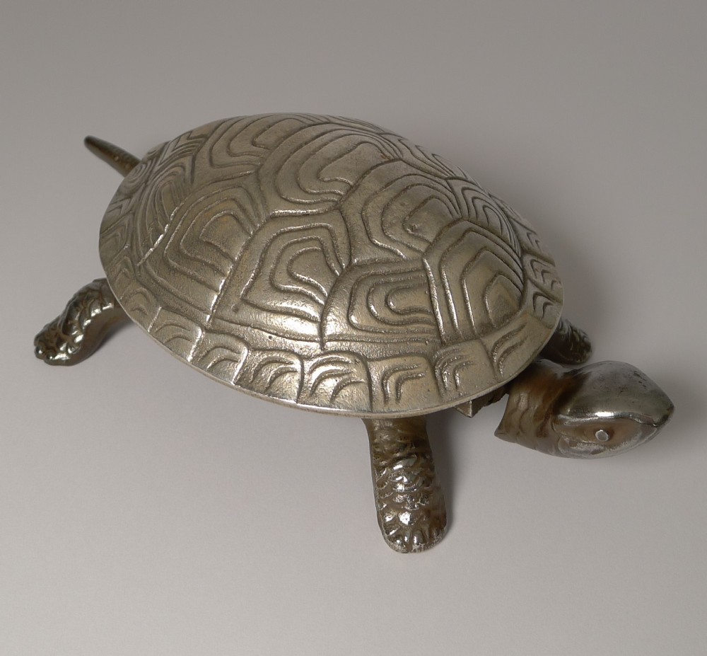 handsome german figural mechanical desk counter bell tortoise