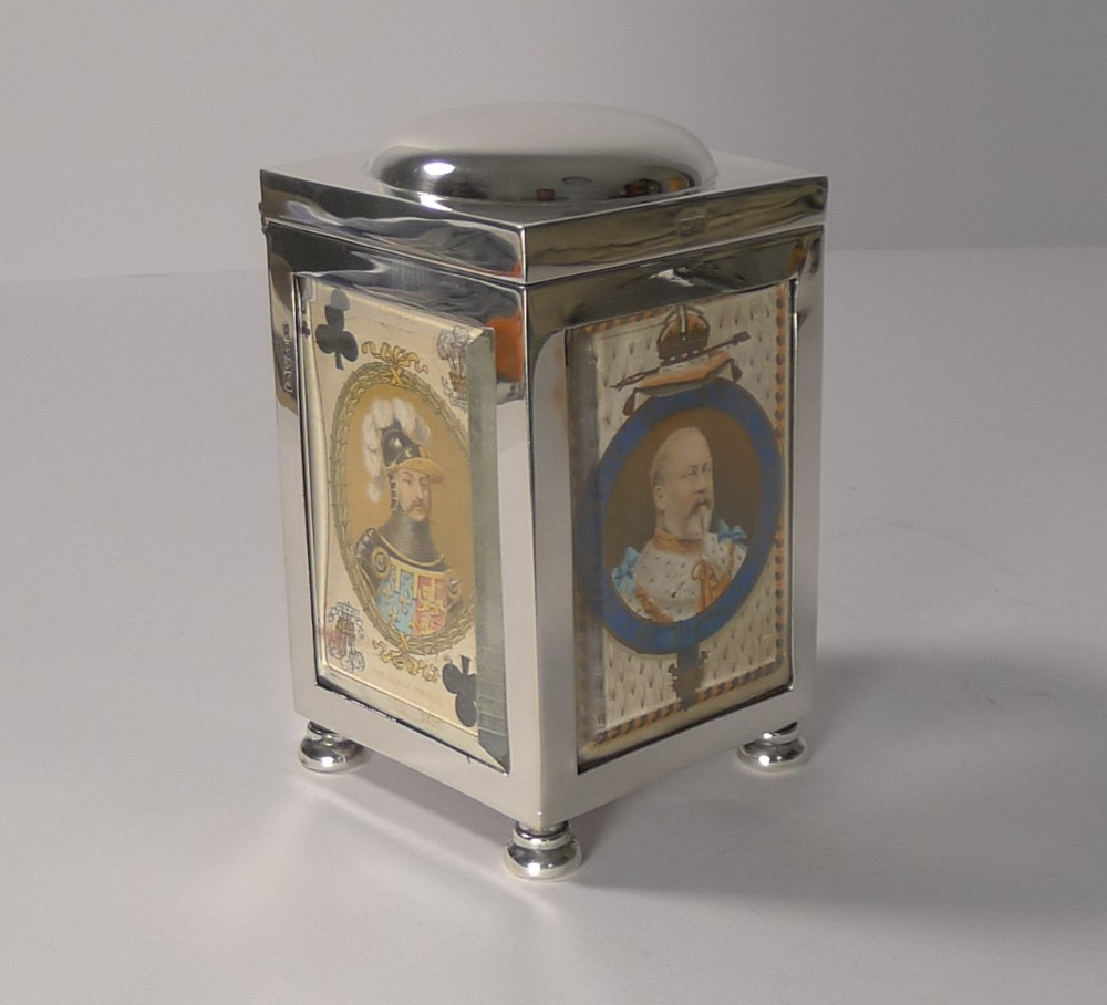 antique english sterling silver playing card box chester 1901
