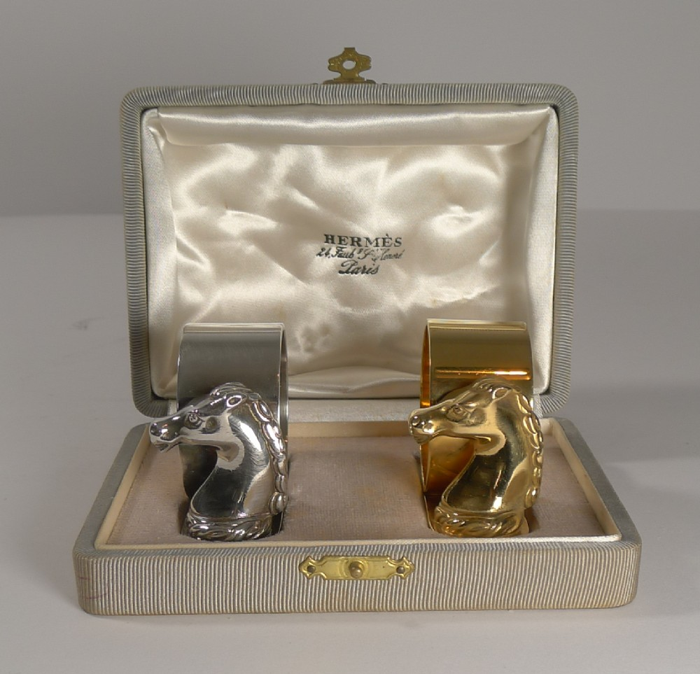 pair vintage cased horse head napkin rings by hermes paris