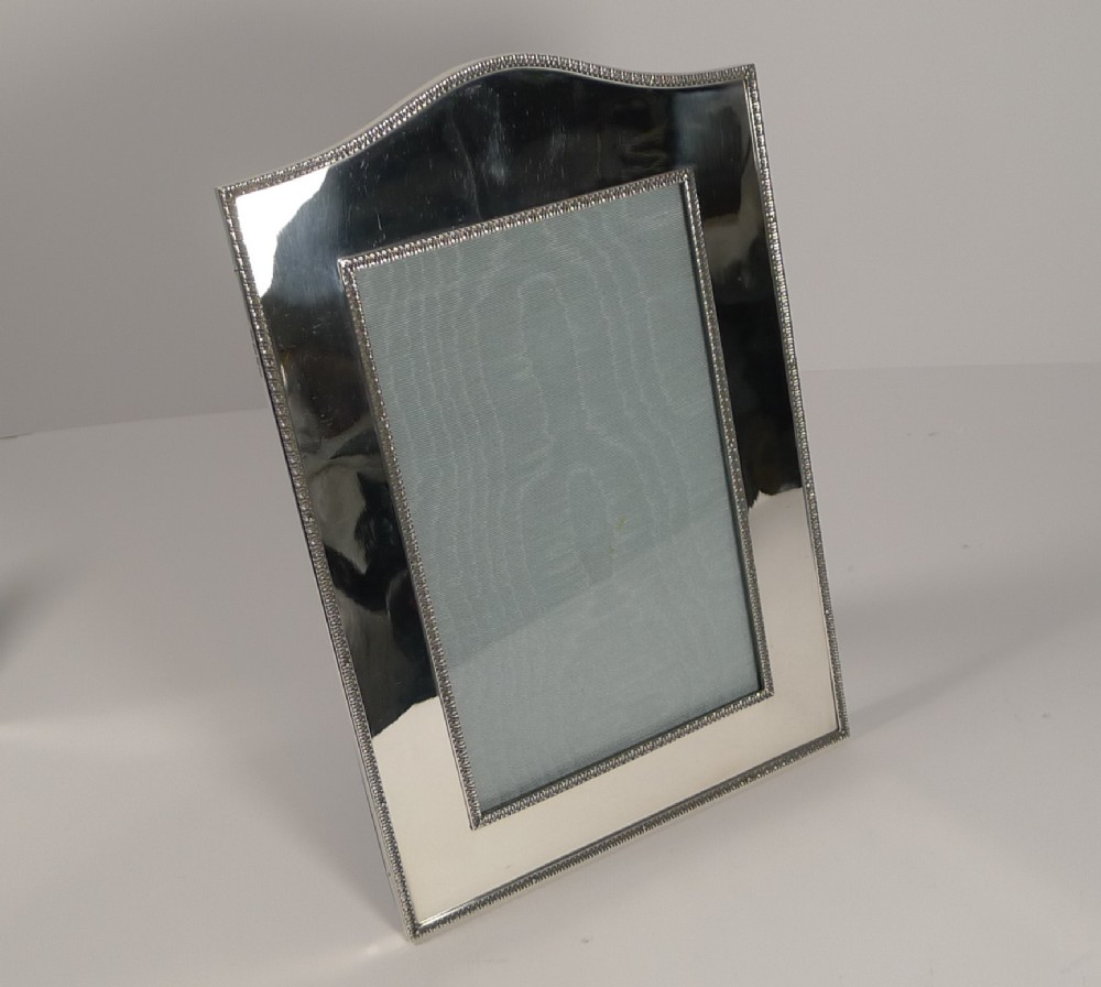 top notch large english sterling silver photograph picture frame 1910