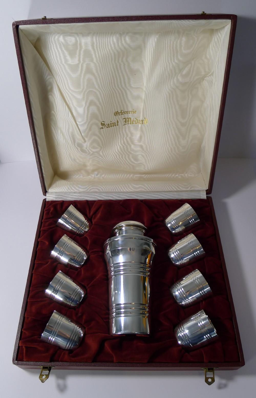 cased french art deco cocktail shaker set by st medard paris c1940