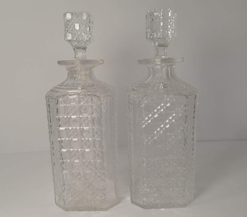 pair english art deco cut crystal decanters