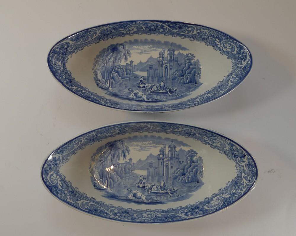 pair antique ridgway blue white bowls venice c1920