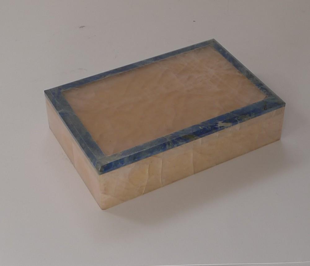 fabulous antique english rose quartz lapis lazuli box c1920