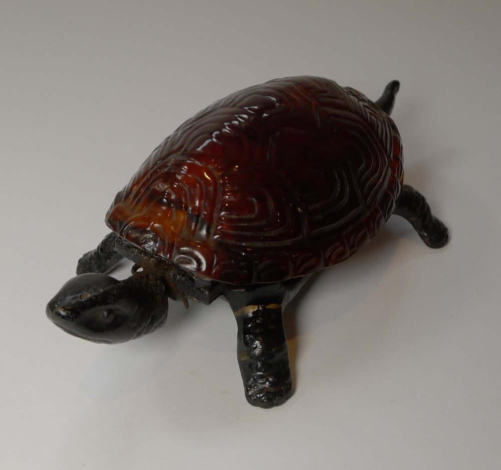 antique mechanical tortoise bell with faux shell c1920