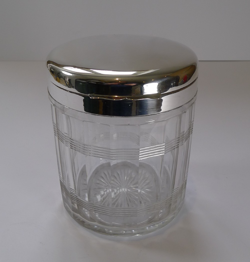 art deco cut glass sterling silver biscuit box ice bucket 1927