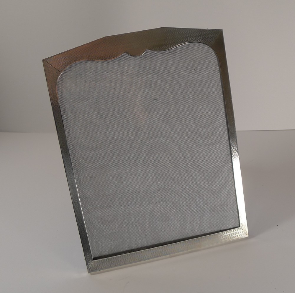 large english art deco sterling silver picture frame 1928