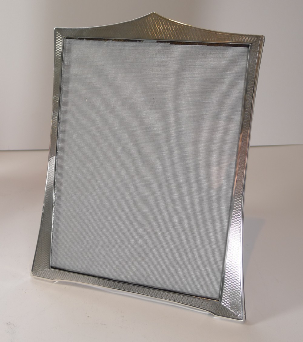 english art deco sterling silver picture frame engine turned 1928