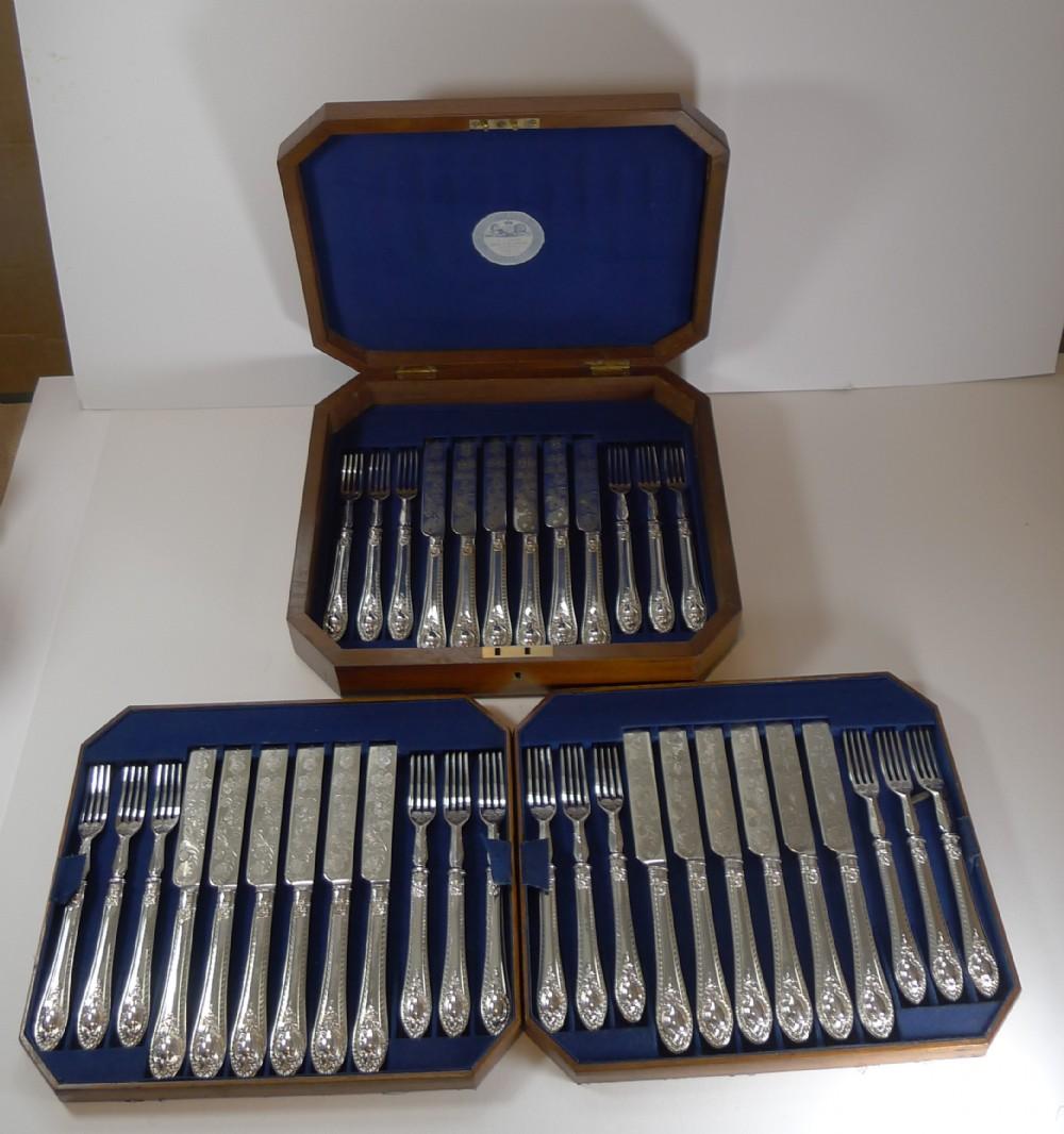 rare setting for 18 fruit desert knives and forks c1860