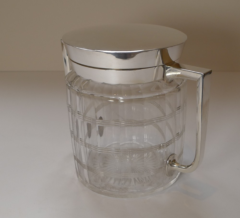 early 20th century faceted glass silver plated biscuit box c1920