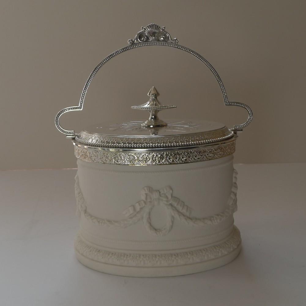 rare antique english parian silver plate biscuit box c1880