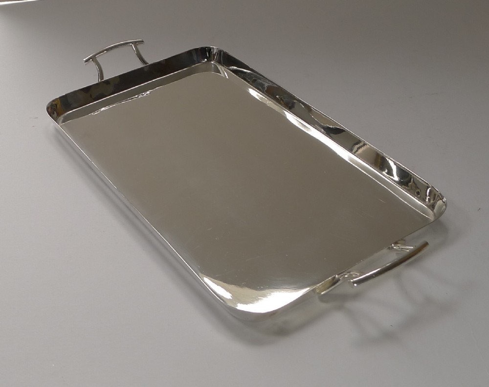 handsome art deco silver plated cocktail tray by walker hall