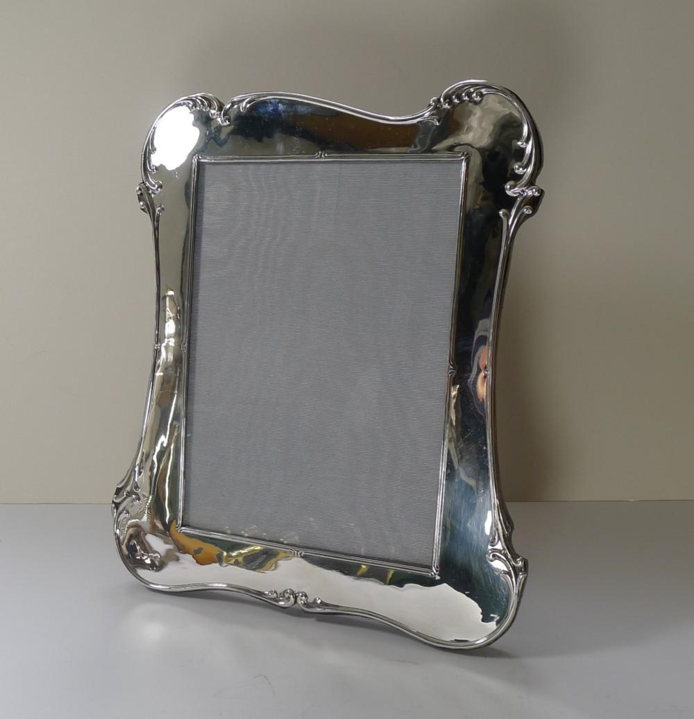 large english sterling silver art nouveau photograph picture frame