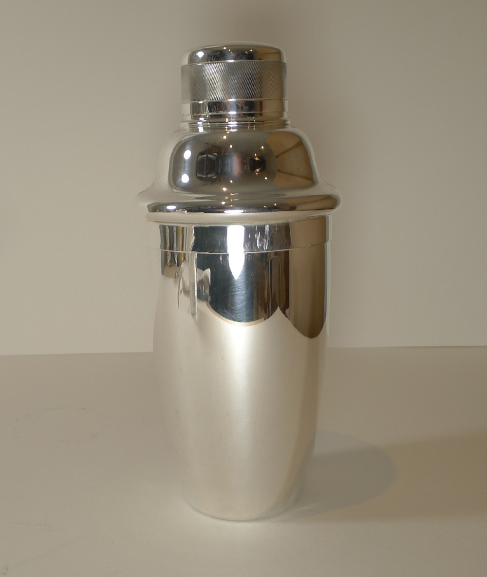 art deco silver plated cocktail shaker by israel sigmund greenberg c1930