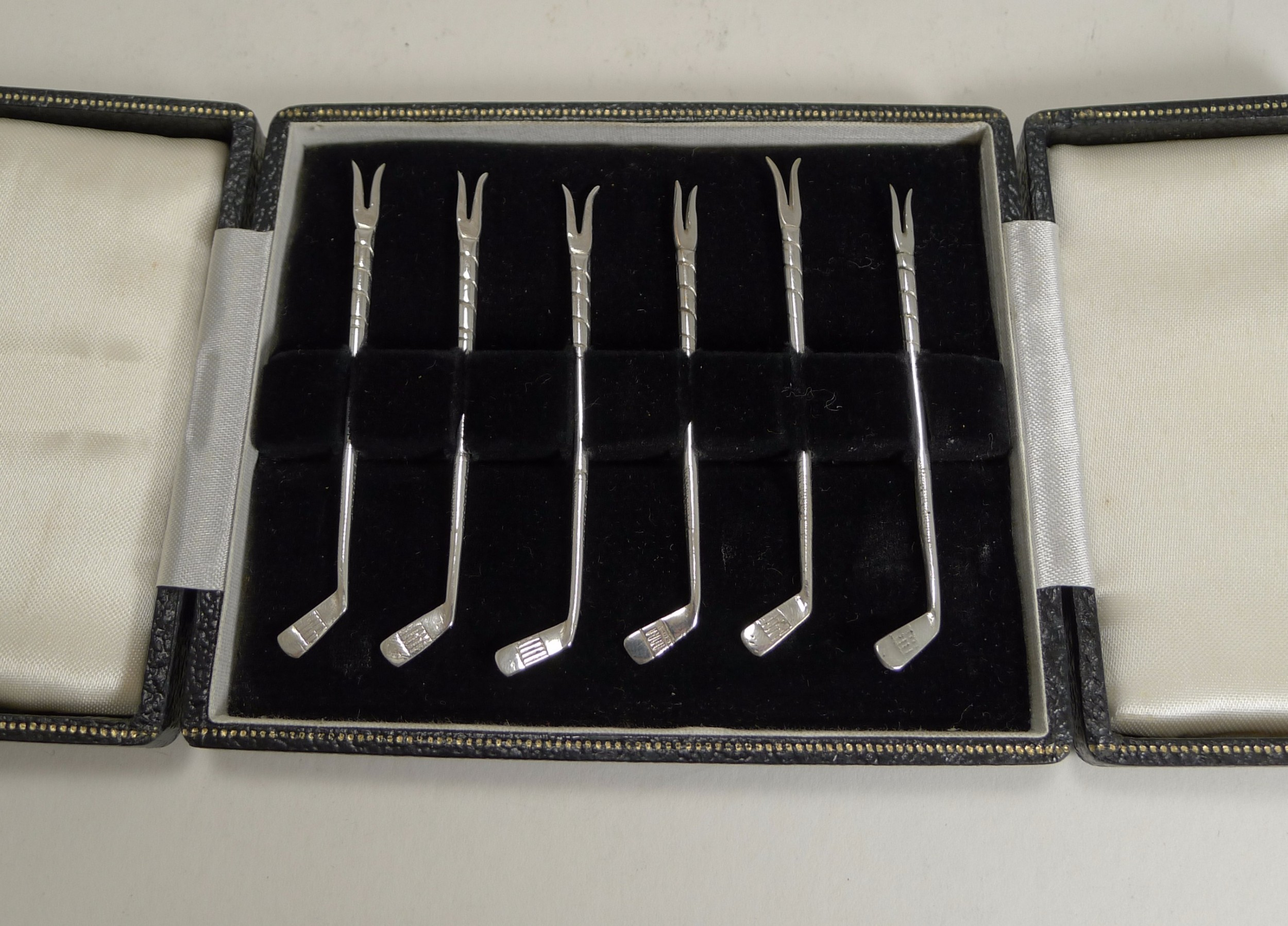 boxed set six golf club cocktail sticks c1930