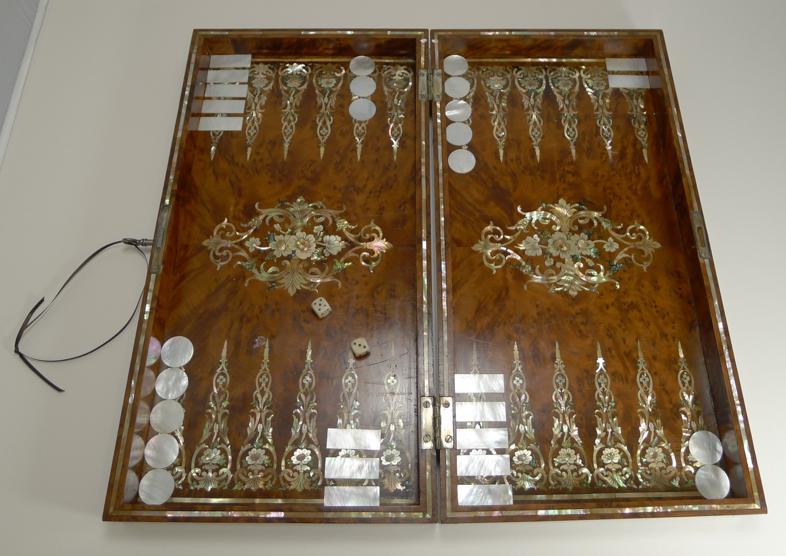 exquisite english mother of pearl inlaid amboyna backgammon board c1890