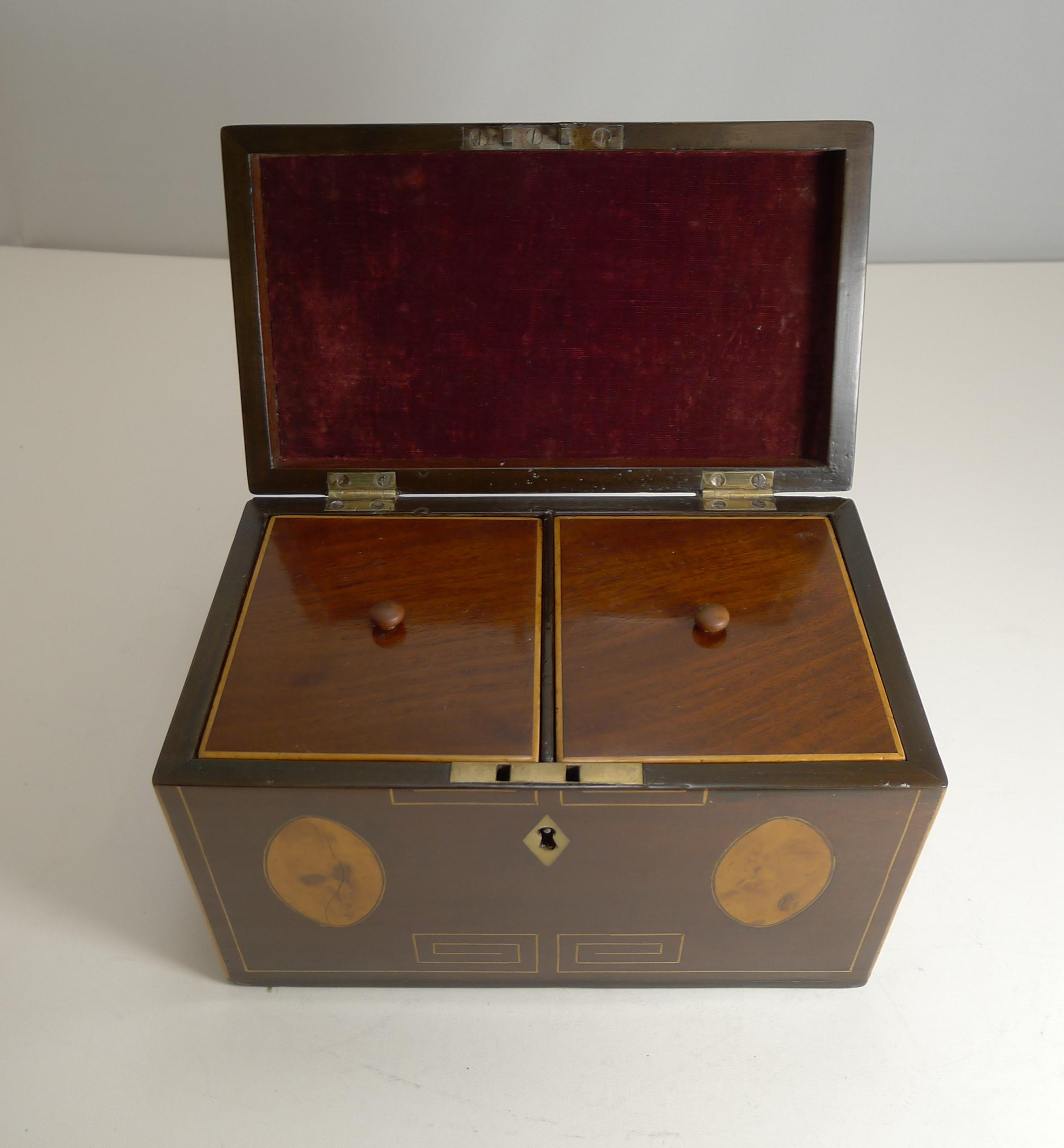george iii english inlaid mahogany tea caddy c1820