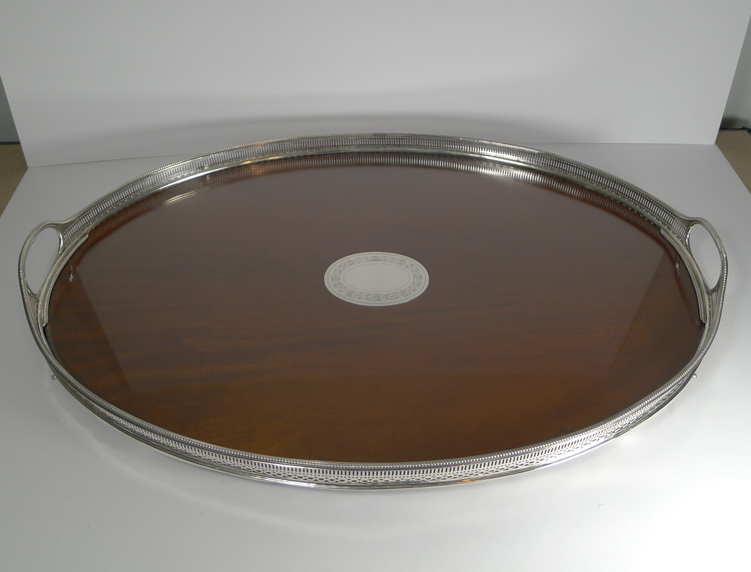 large antique english mahogany and sterling silver tray 1883