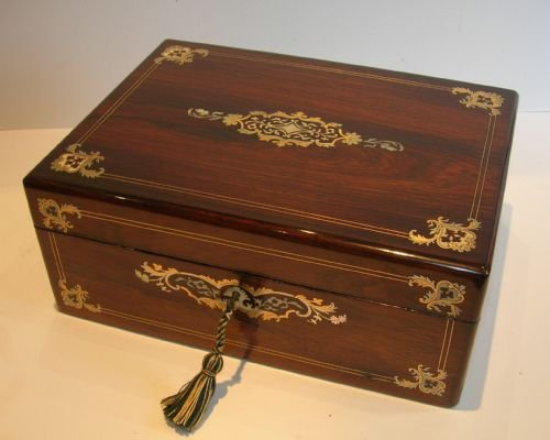 exquisite antique english inlaid rosewood sewing box c1850
