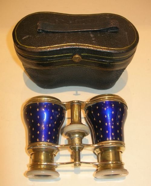 exquisite pair french cobalt blue enamel and mother of pearl opera glasses