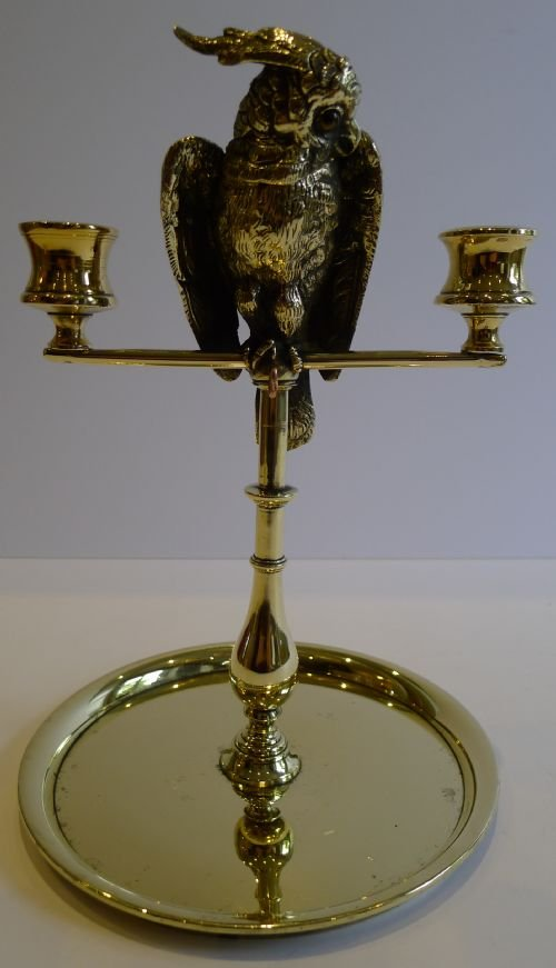 fabulous antique english cockatoo vesta candelabra pocket watch stand c1880