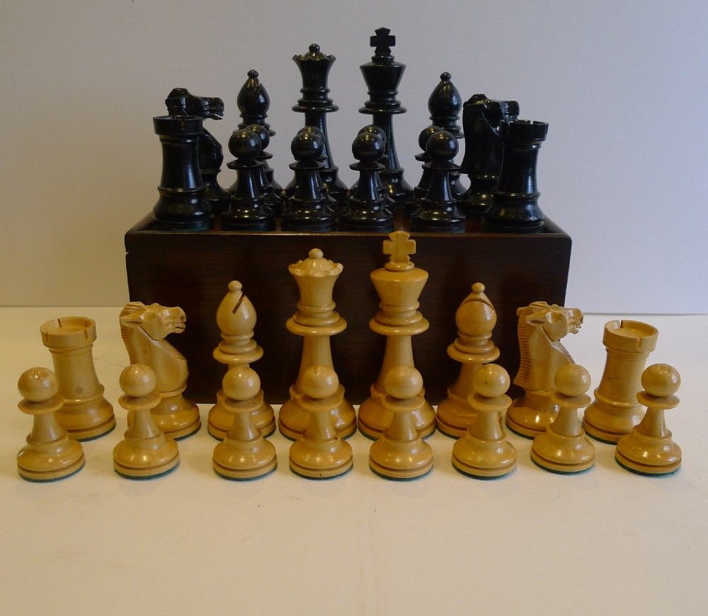 Large antique english weighted boxwood chess set with storage box c1910 329083 - Collectible chess sets ...