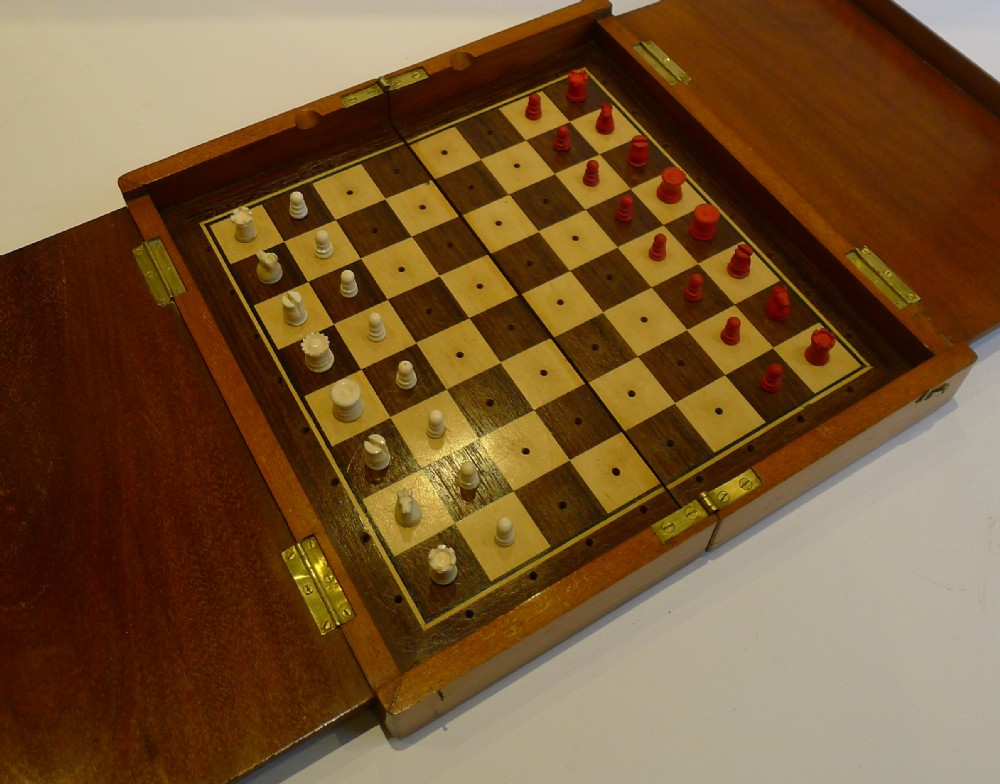 Large antique jaques travelling chess set signed c1910 248109 - Collectible chess sets ...