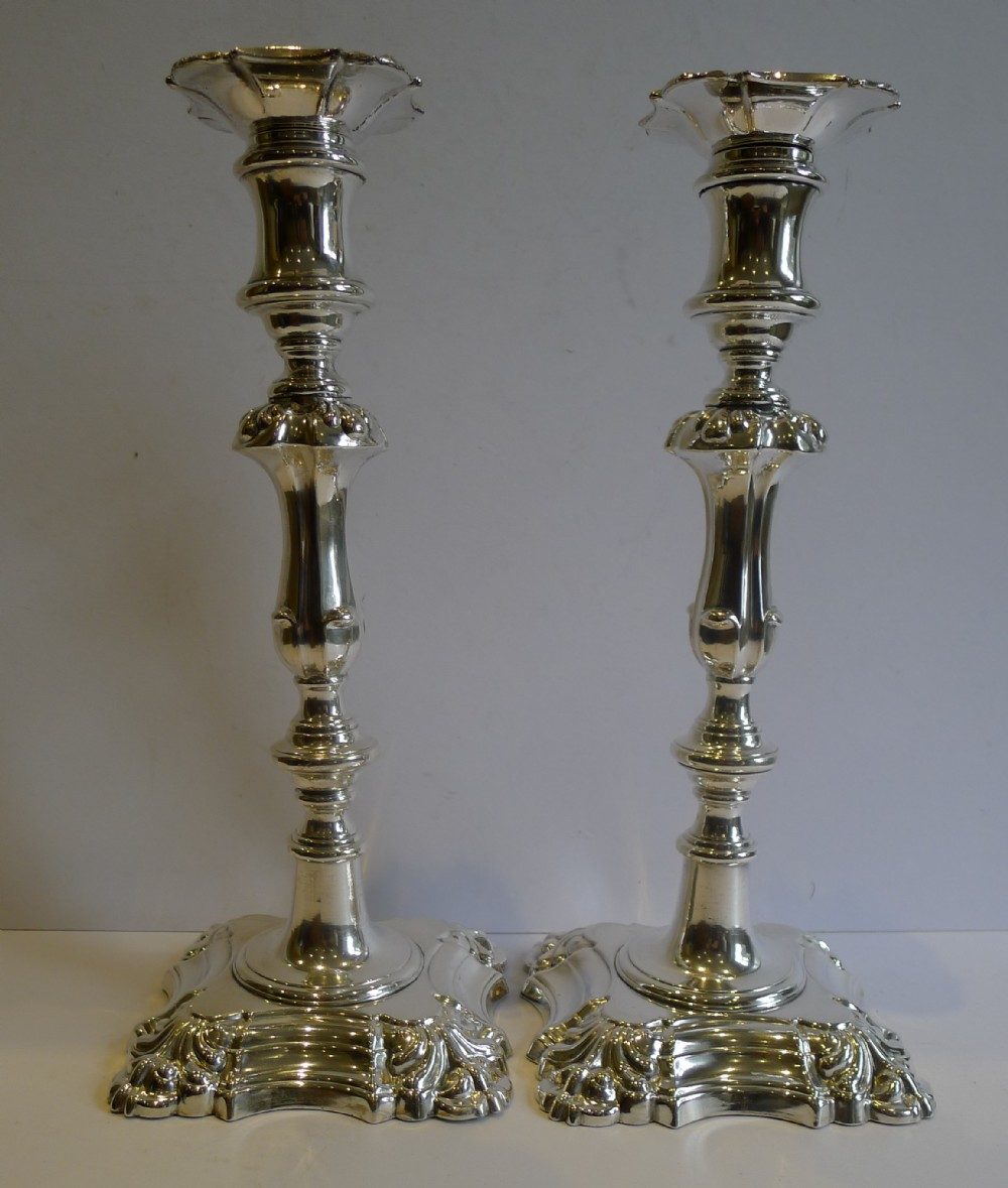 Pair Antique English Silver Plated Candlesticks C1860 ...