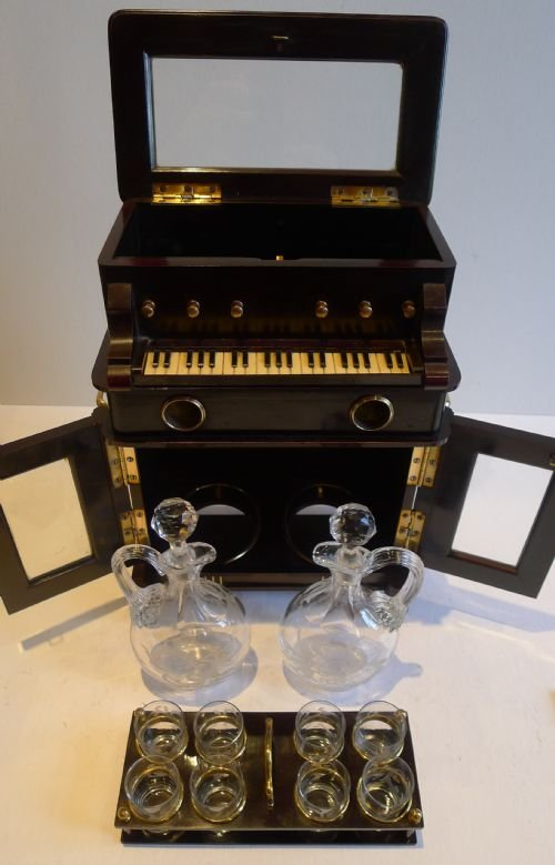 rare antique novelty automated miniature musical liquor cabinet two airs c1910