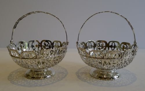 stunning pair antique sterling silver baskets chester 1907