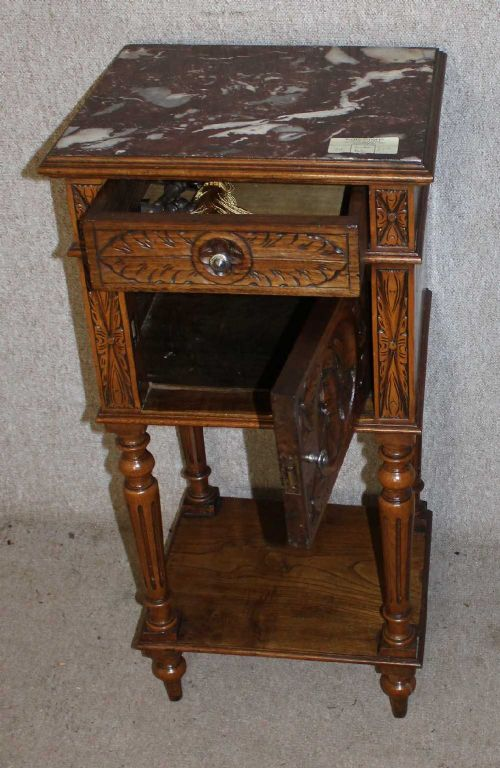 Carved Breton Medium Oak Bedside Cabinet With Cupboard With Marble