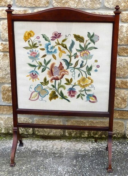 Victorian Fire Screen With Beautifully Embroidered Floral Panel 253591