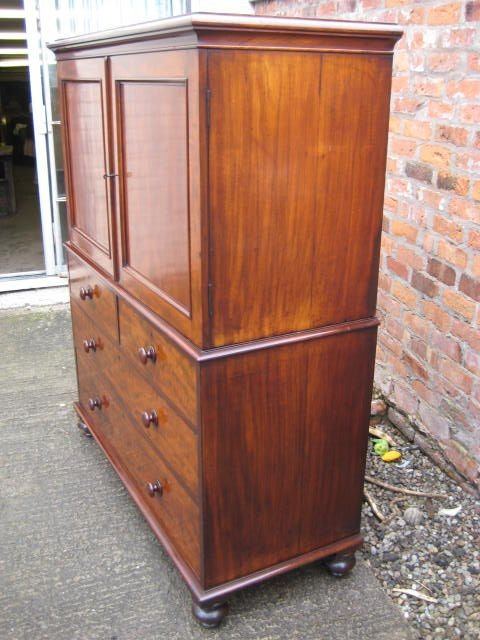 victorian mahogany linen press - photo angle #2