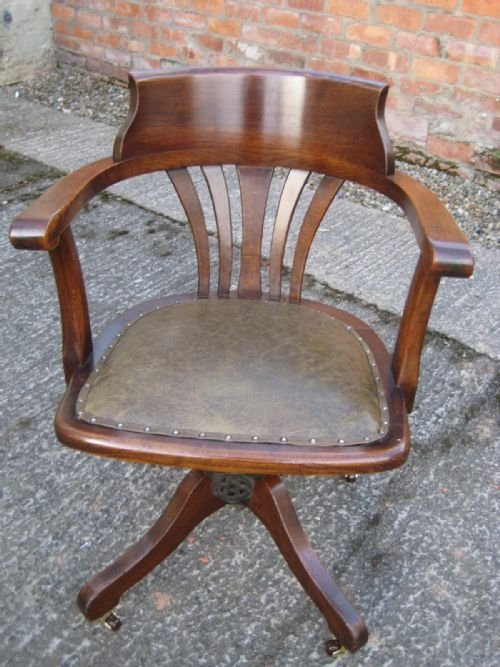 Oak Captains Style Swivel And Tilt Desk Chair