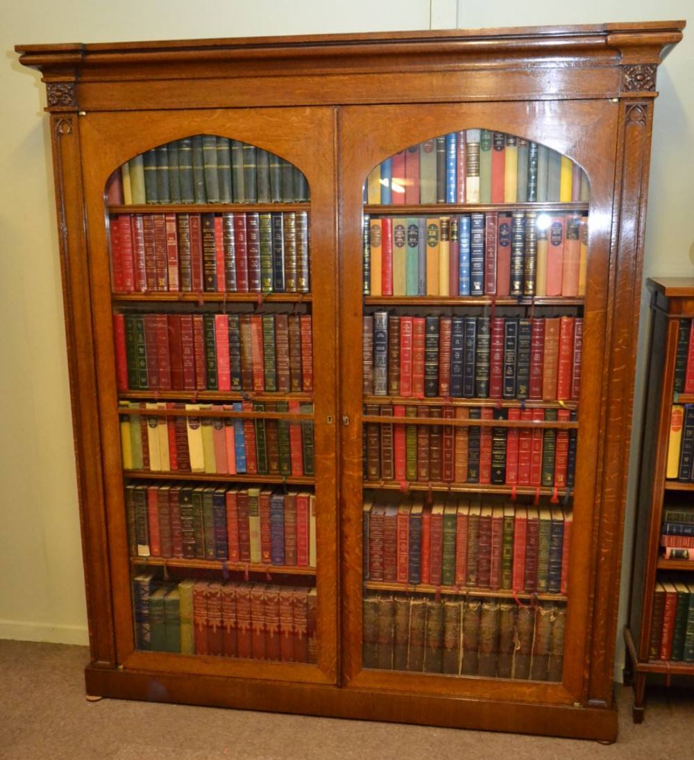 glazed oak bookcase c1870
