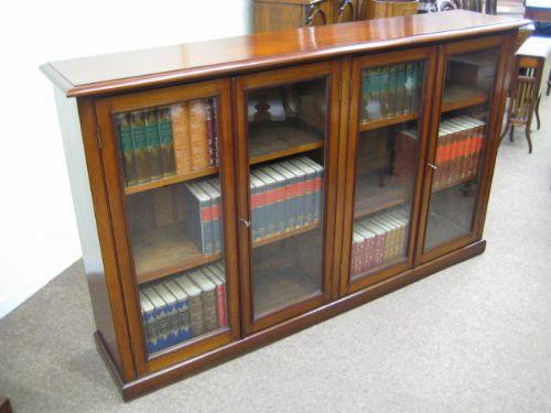 Low Bookcases With Doors: Victorian Mahogany 4 Door Low Bookcase