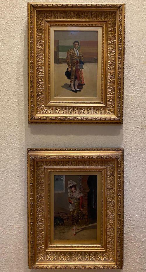 superb pair of spanish portraits on board painter adolfo del aguila y pimentel
