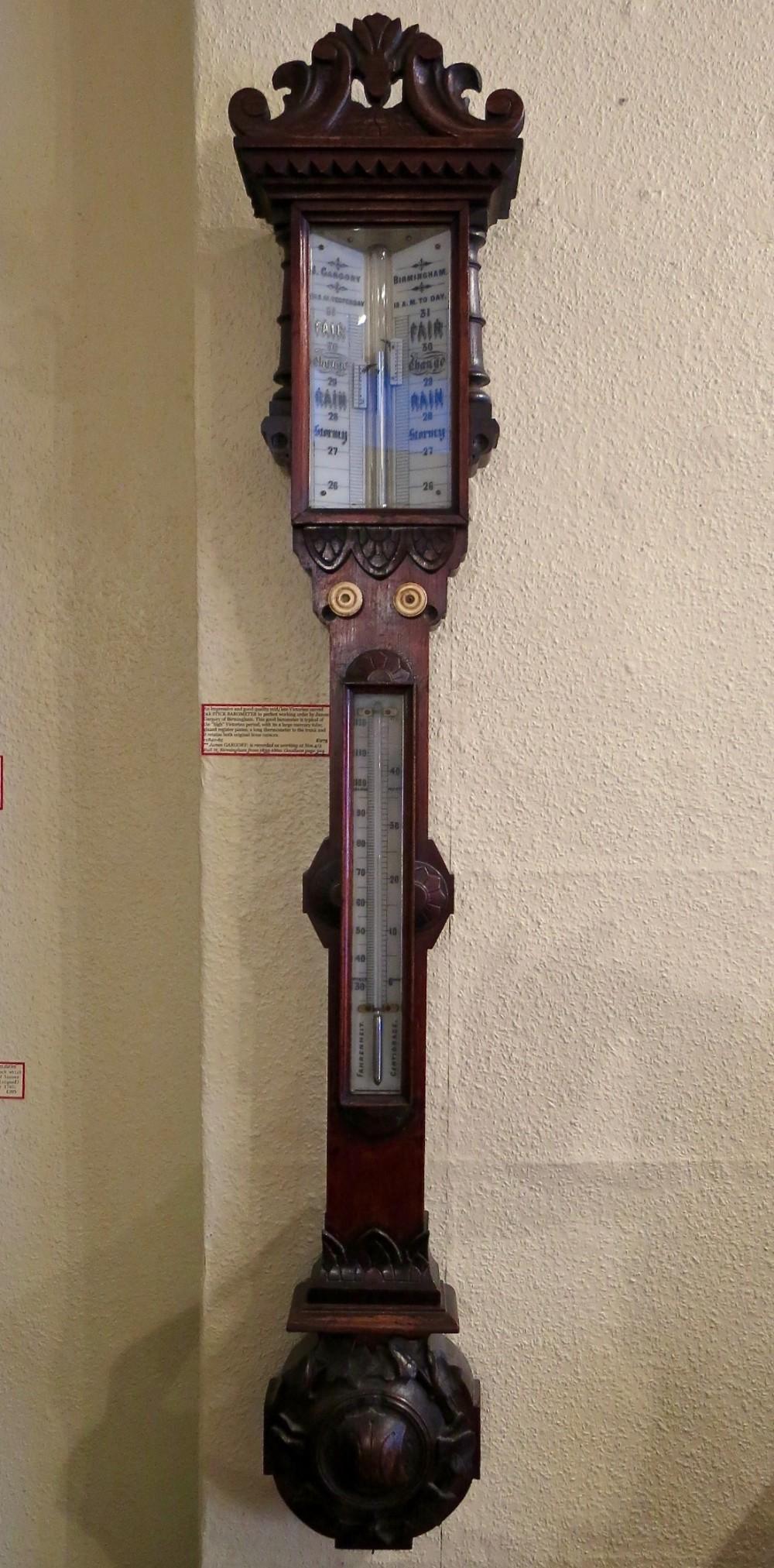 handsome victorian oak stick barometer