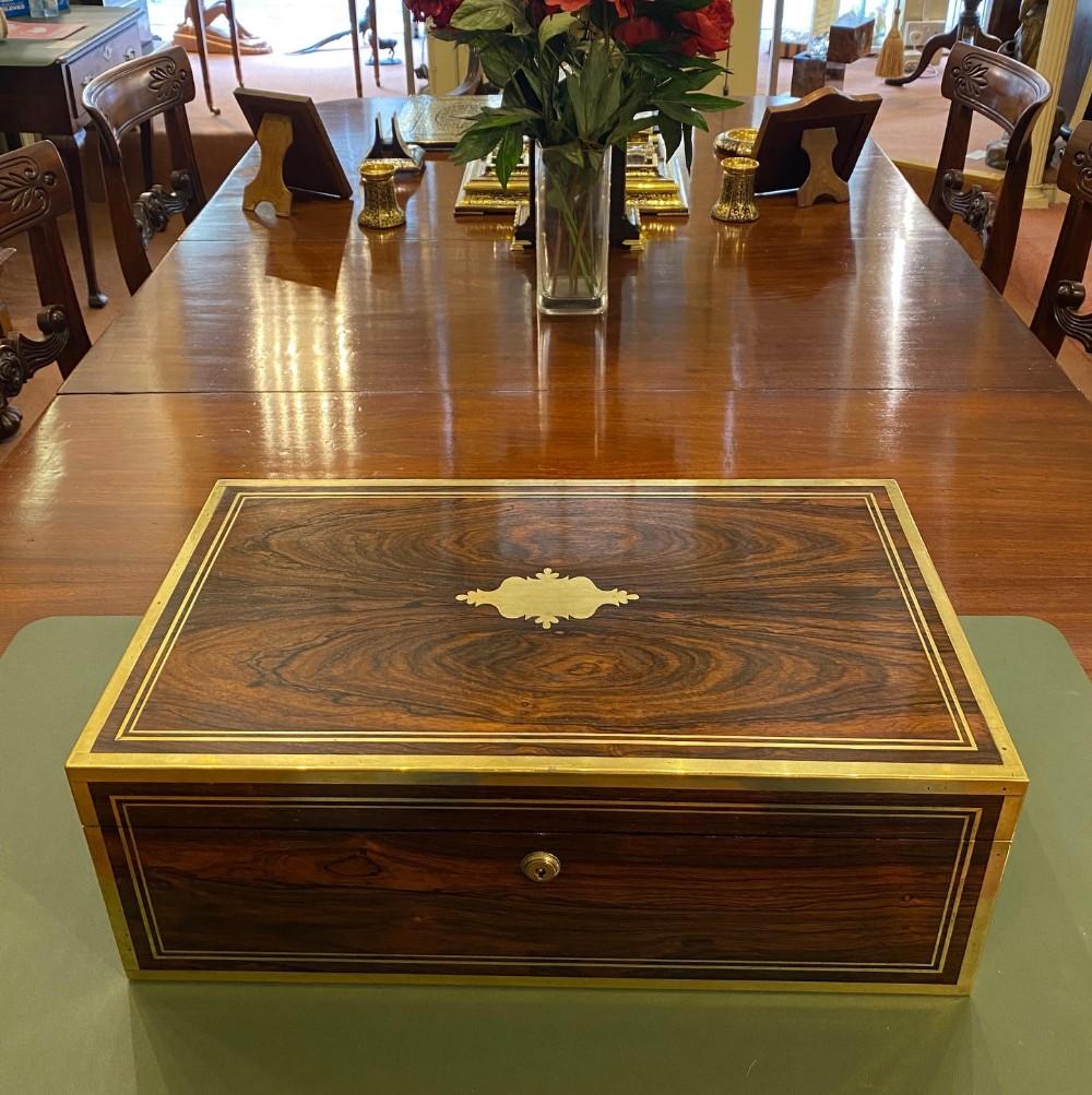 midlate 19th century rosewood and brass inlaid writing box