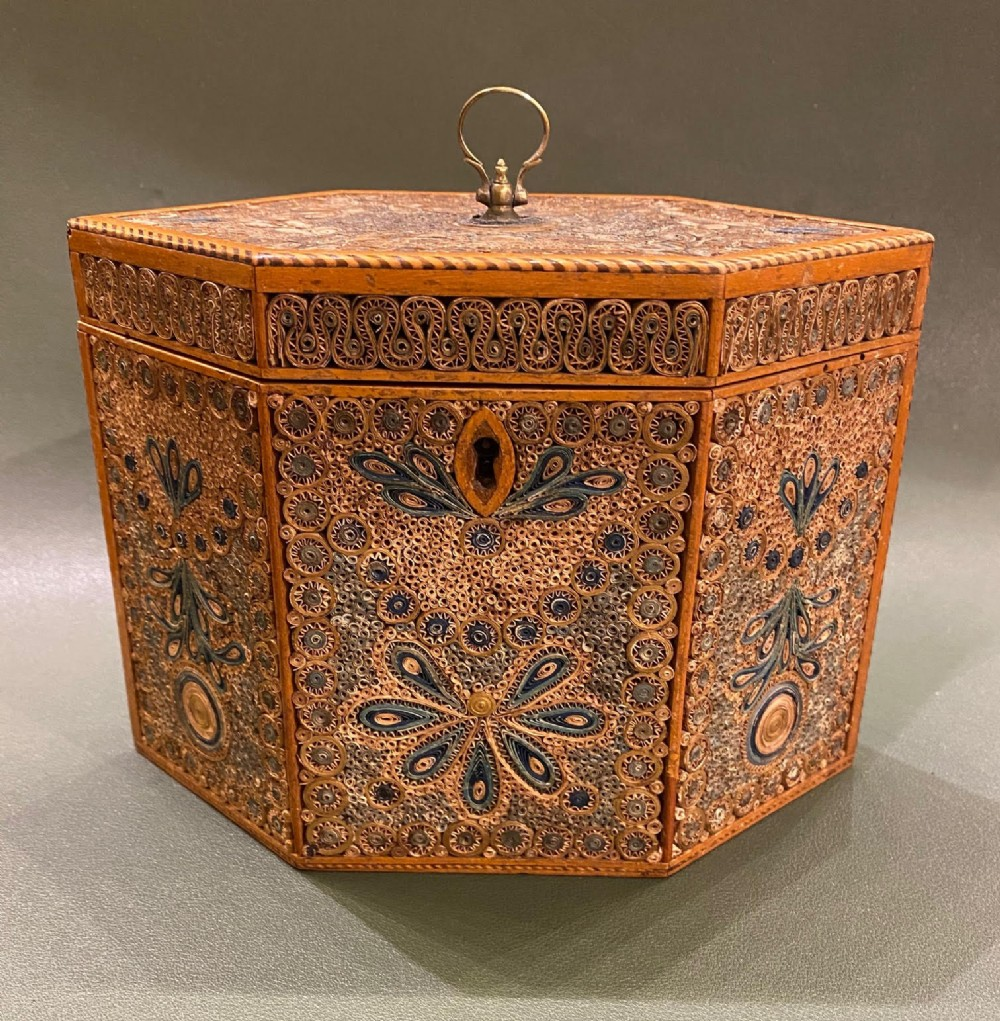 a fine example of a late 18th century rolled paper tea caddy