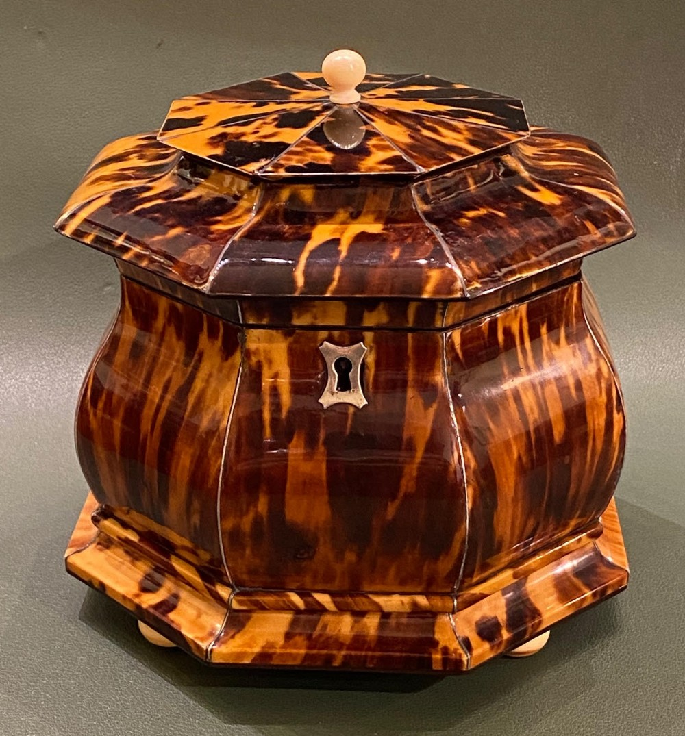 regency period octagonal tortoiseshell and ivory double tea caddy