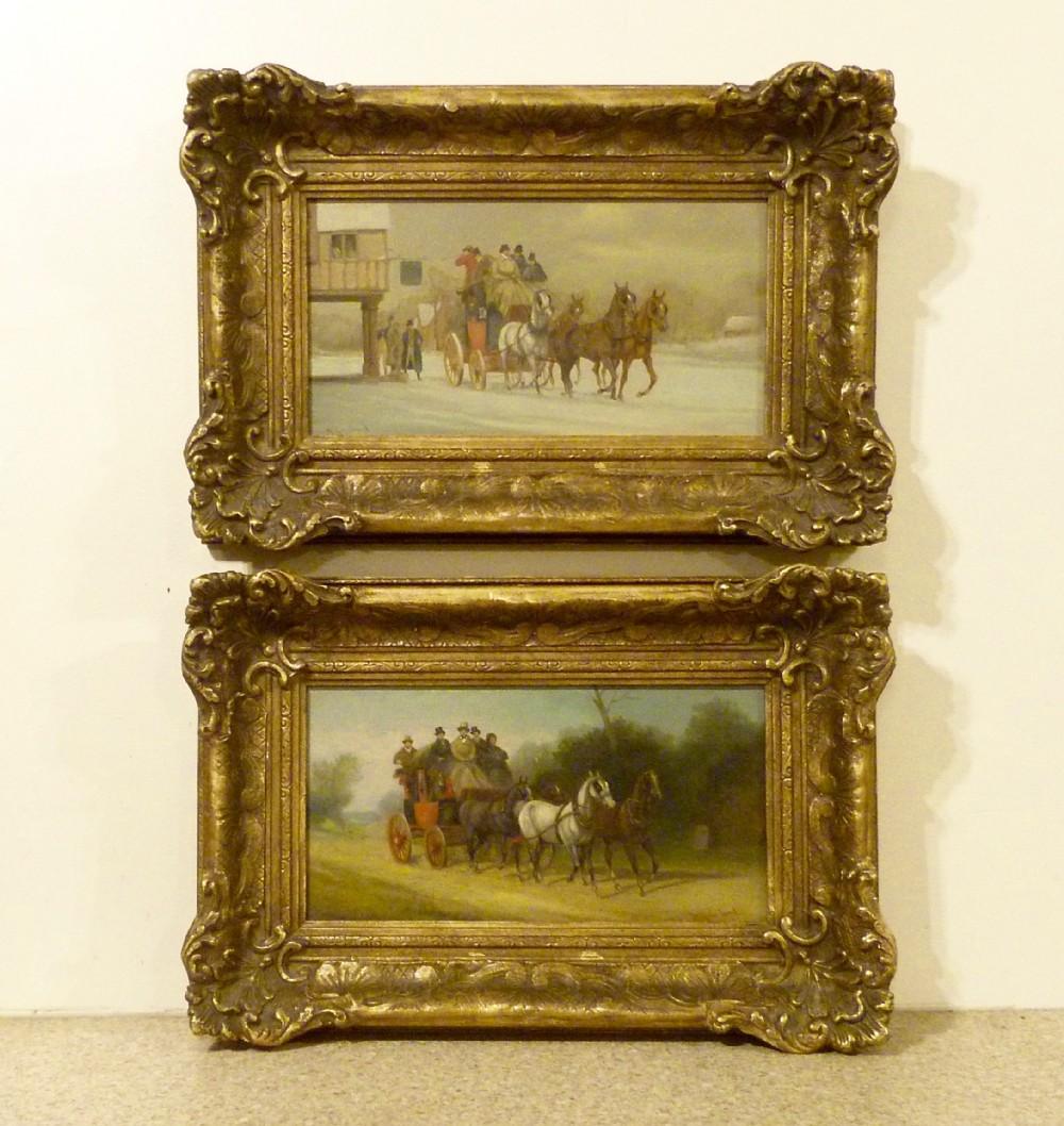 william rowland pair coaching oil paintings