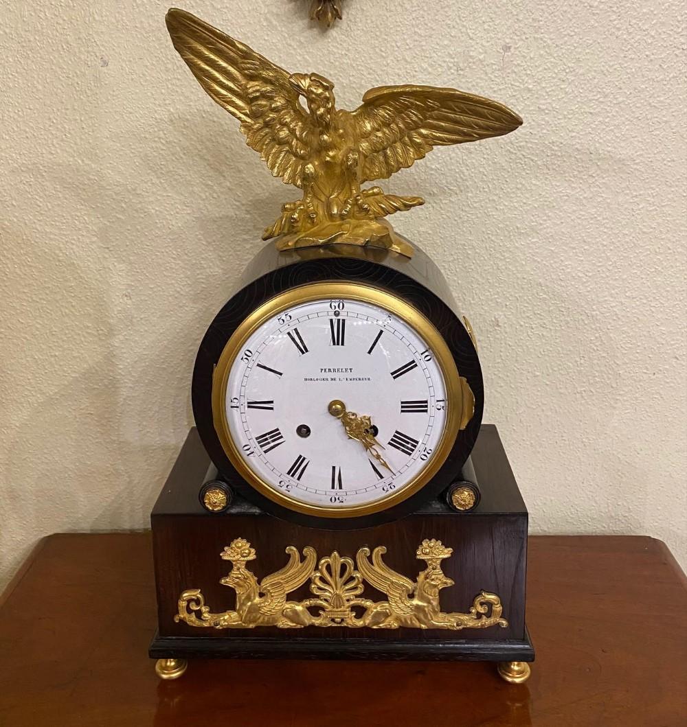 napoleon iii rosewood ormolu mantel clock by perrelet et fils paris