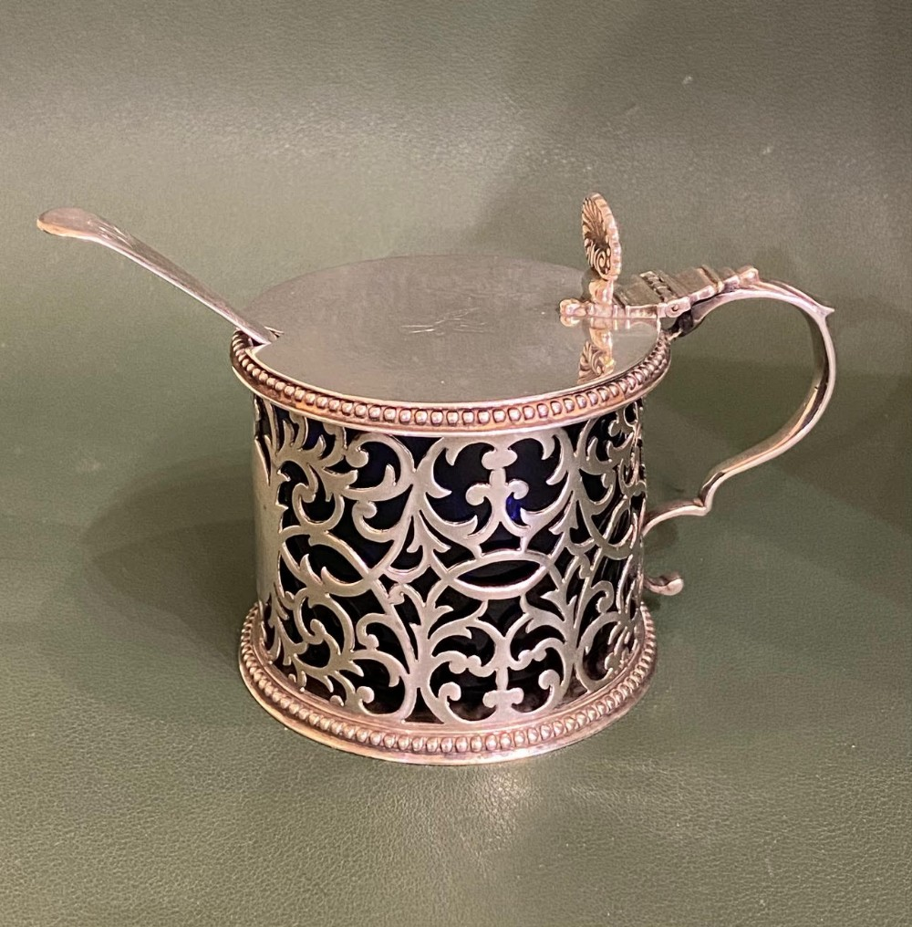 pretty george iii sterling silver mustard pot with blueglass container