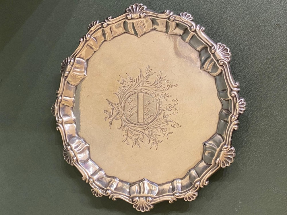 mid18th century solid silver salver or card tray
