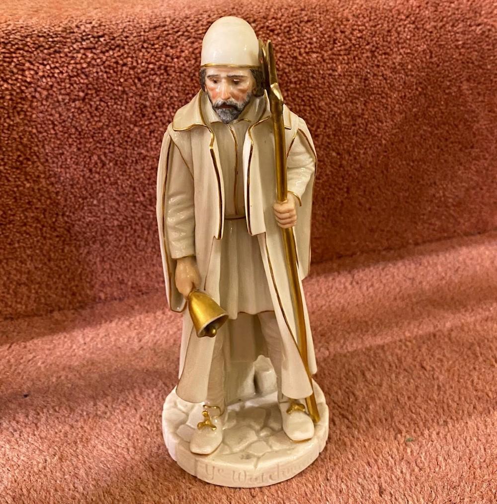 rare royal worcester porcelain figure by james hadley 'ye watchman' shape 998