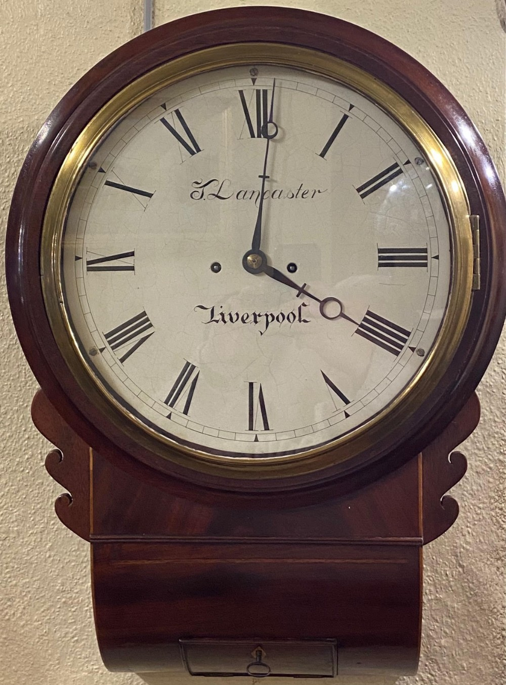 twinfusee mahogany drop dial 'striking' wall clock by t lancaster of liverpool