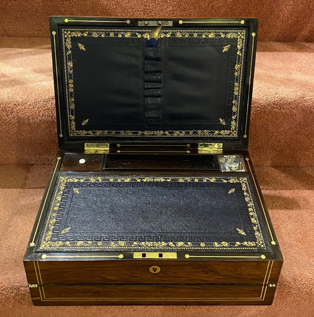 mid 19th century 3section rosewood writing box with hallmarked silver inkwell