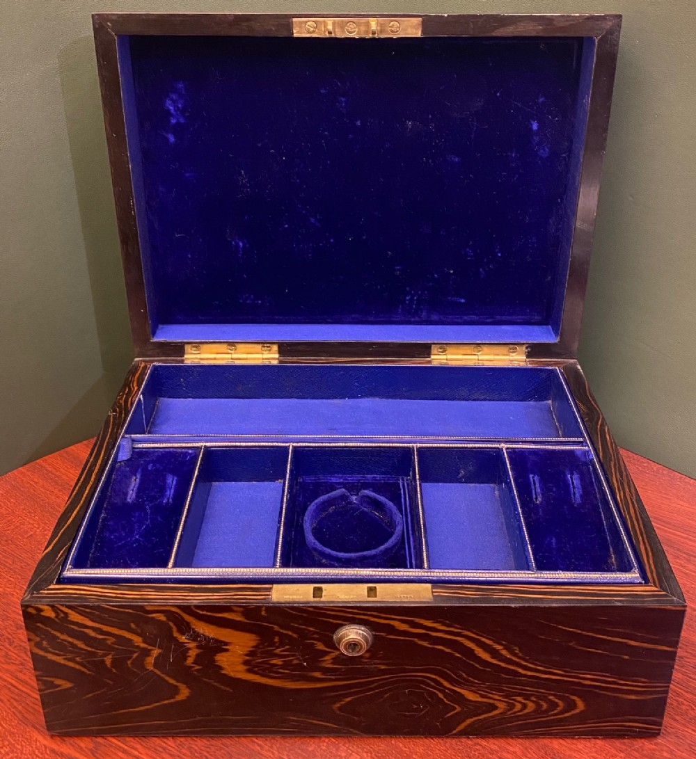 a good 19th century coromandelwood fitted jewellery box