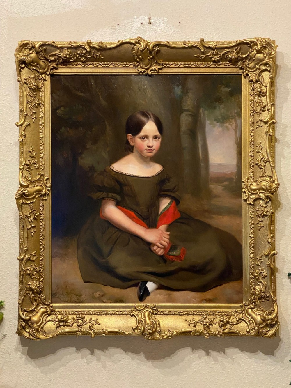 a large and striking oil on canvas in original frame by john g medland 18401877